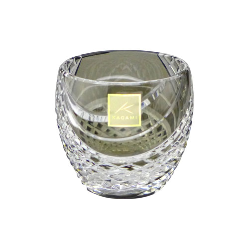 カガミクリスタル 冷酒グラス 江戸切子(魚子流し 紋) 懐石杯 黒