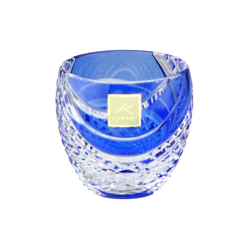 カガミクリスタル 冷酒グラス 江戸切子(魚子流し 紋) 懐石杯 青