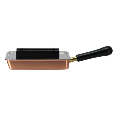 銅製フッ素加工のリブレスシリーズ 餃子&玉子 18cm 専用のステンレス製フタ付き