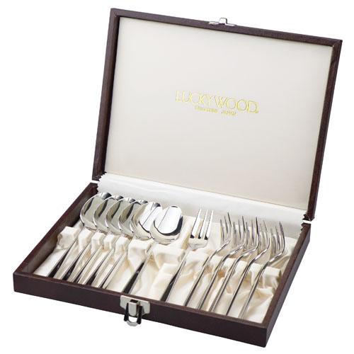LUCKY WOOD ラッキーウッドの金属食器 ロマンスシリーズ 12ピース ティーケーキギフトセット
