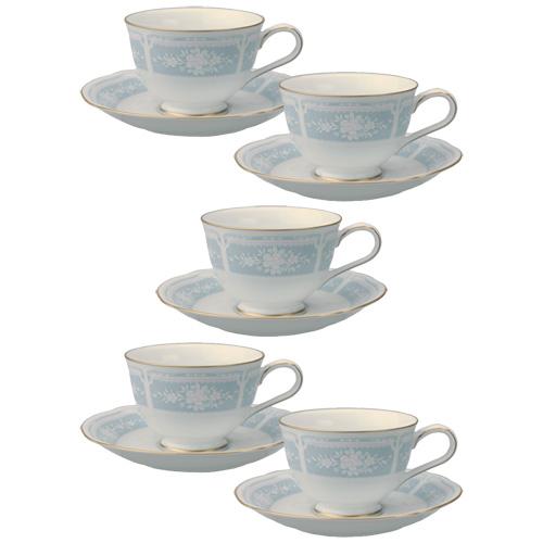 ノリタケ レースウッドゴールド ティー・コーヒー碗皿(カップ&ソーサー) ブルー 5客セット
