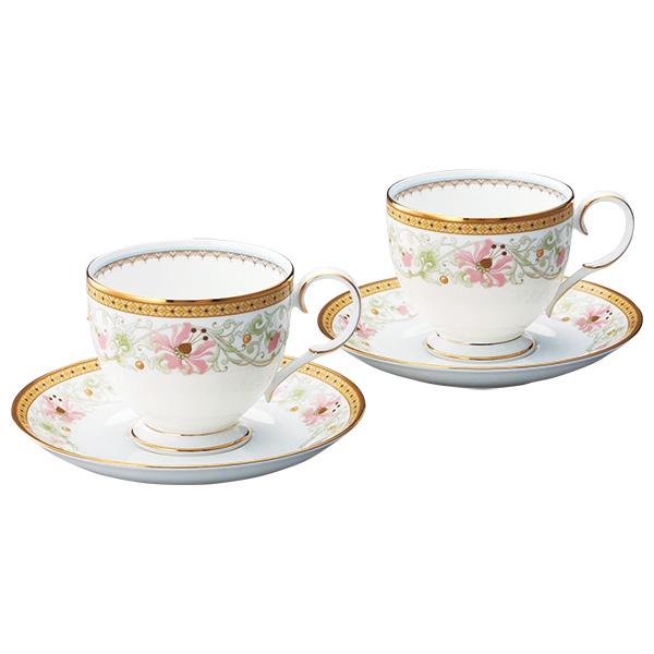 ノリタケボーンチャイナ ブルーミング スプレンダー ティー・コーヒー碗皿(カップ&ソーサー)ペアセット