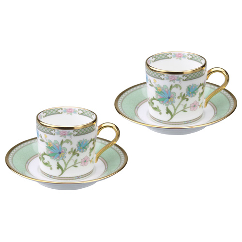 ノリタケ ボーンチャイナ ヨシノ コーヒー碗皿ペアセット グリーン