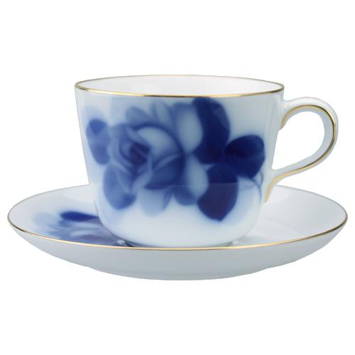 大倉陶園 ブルーローズ モーニング碗皿(カップ&ソーサー)