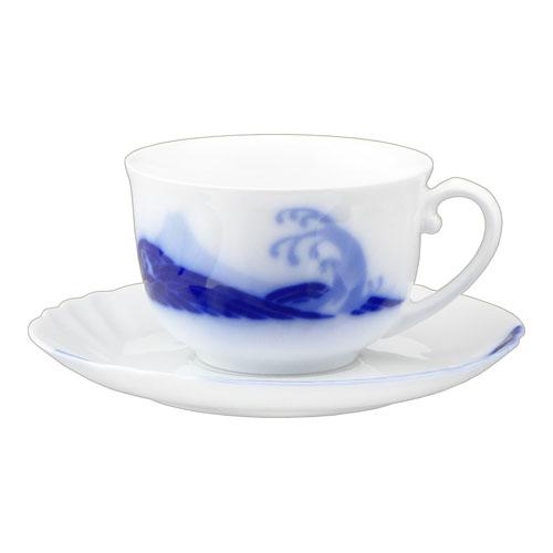 大倉陶園 100周年カウントダウン碗皿シリーズ第3弾 「岡染富士波」ティー・コーヒーカップ&ソーサー