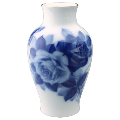 大倉陶園 ブルーローズ 花器 19cm