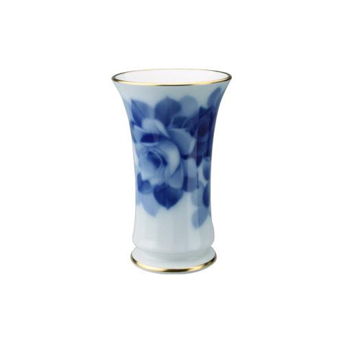 大倉陶園 ブルーローズ 花器 15cm 77A/8011