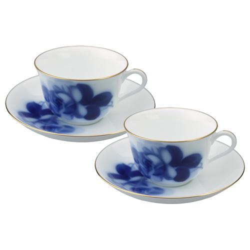 大倉陶園 ブルーローズ コーヒー碗皿(カップ&ソーサー) ペアギフトセット