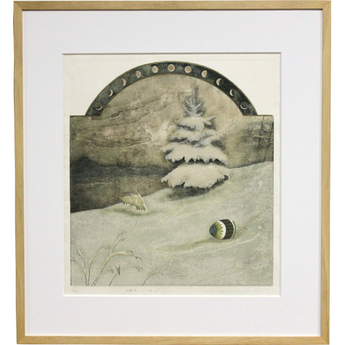 岩切裕子 額付き木版画 月暦図シリーズ 十二夜(1997年)