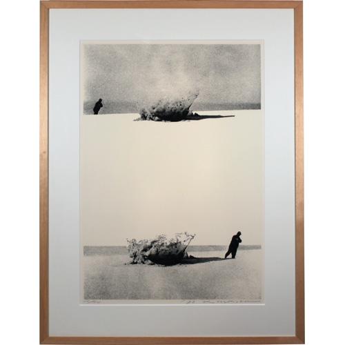 森岡 完介 額付き版画(シルクスクリーン) 「人は何処へ '76-1」 1976年