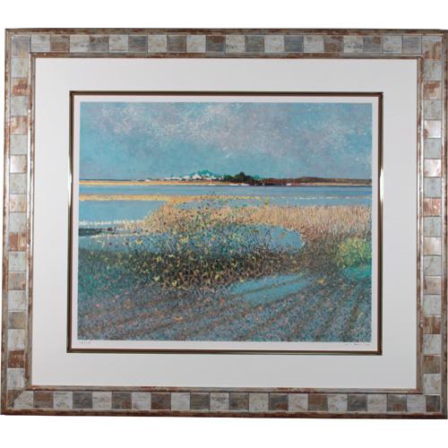 アンドレ・ブーリエ 額付き版画(リトグラフ) 『早春の沼地』
