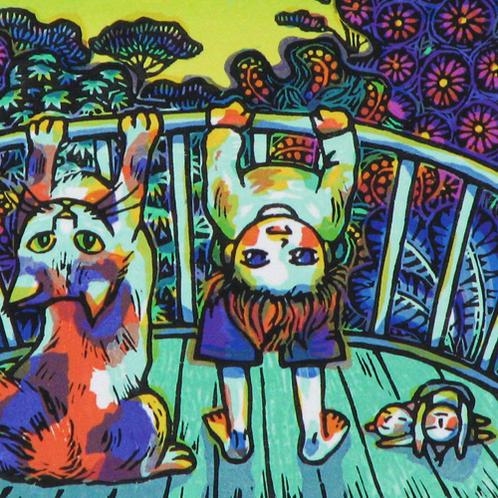 風鈴丸 額付き木版画 ふたりブリッジ 2005年