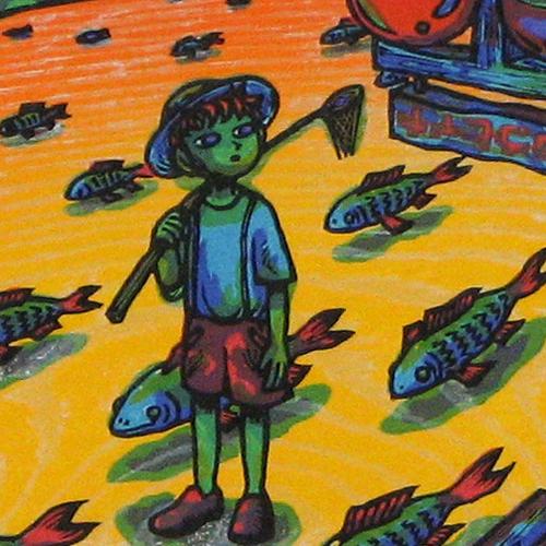 風鈴丸 額付き木版画 ひと休みの星 1997年