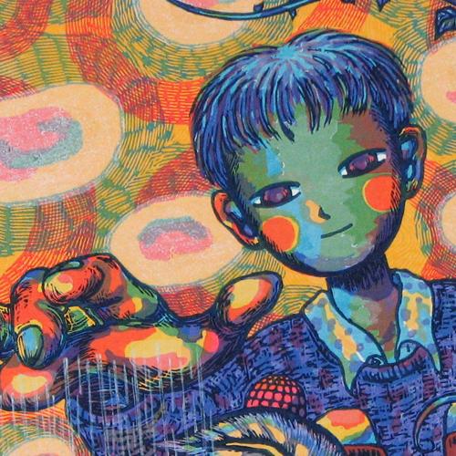 風鈴丸 額付き木版画 ぼくらのちから(R) 1997年