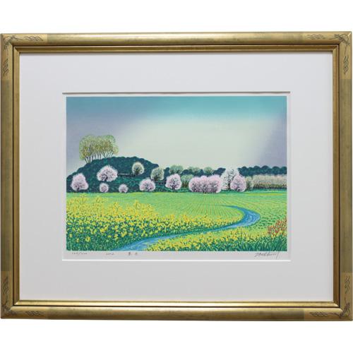 牧野宗則 額付き木版画 『春色』 2002年