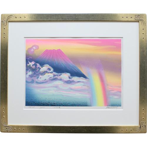 牧野宗則 額付き木版画 『いのちの花』 2007年