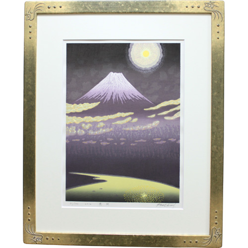 牧野宗則 額付き木版画 『慈照』 2012年