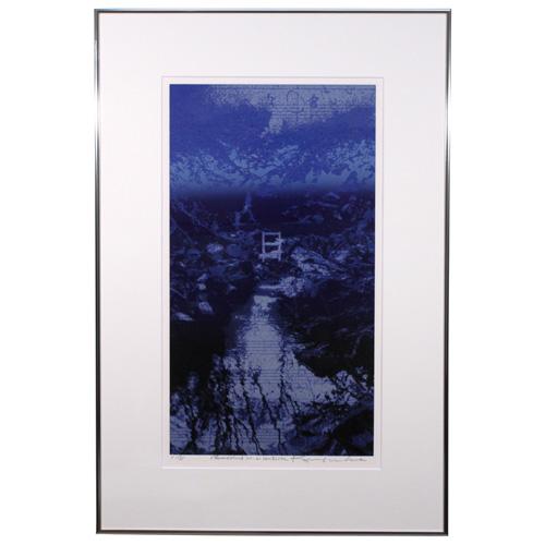 森岡 完介 額付き版画(シルクスクリーン) 出雲シリーズ「Izumo wind '00-4C Hii River」 2000年