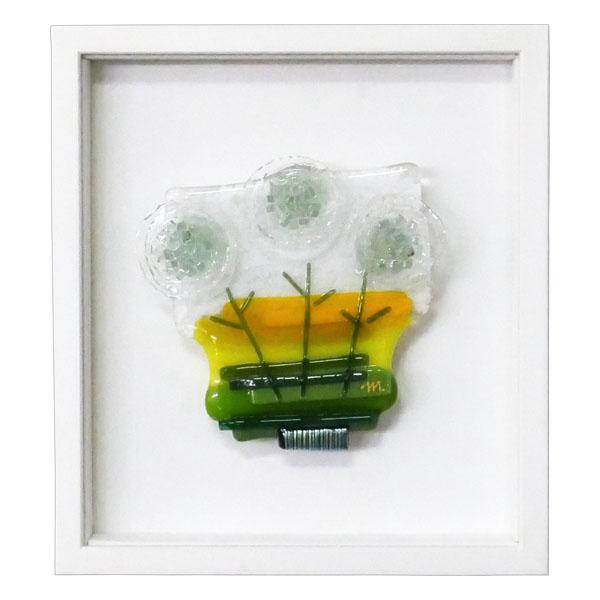 片山みやび 額付きグラスワーク(フュージングガラス作品) 『小さなかしまし』