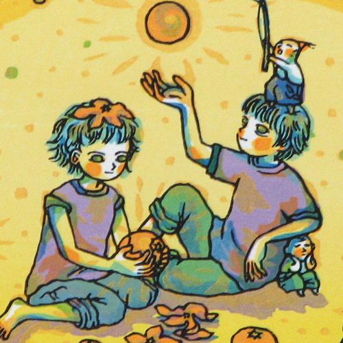 風鈴丸 額付き木版画 【太陽系シリーズ】 金星ミカン 2003年