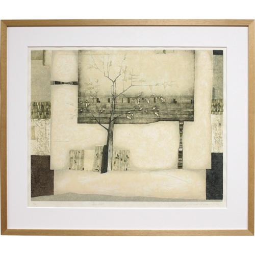 岩切裕子 額付き木版画 Magnolia(2003年)