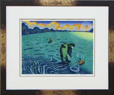 風鈴丸 額付き木版画 凪 1992年