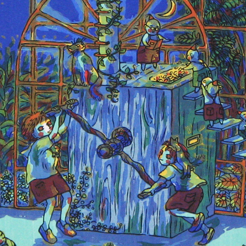 風鈴丸 額付き木版画 夏休み製造工場 2002年