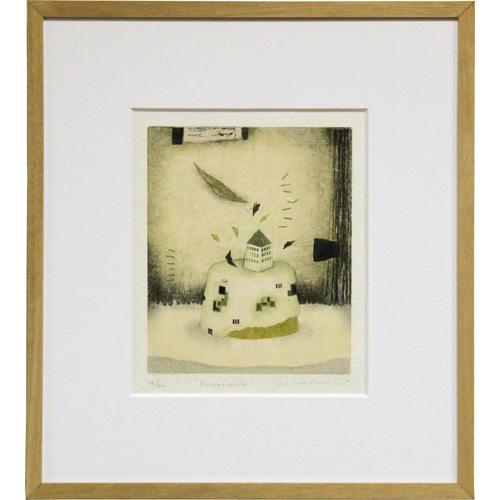 岩切裕子 額付き木版画 『Passacaglia』 2003年
