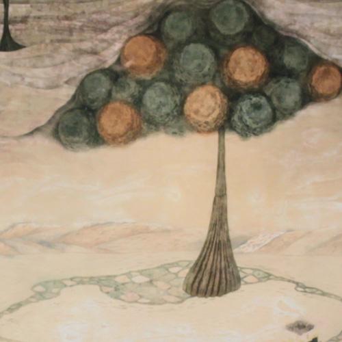 岩切裕子 額付き木版画 『予言者のカンカータ』(2000年)