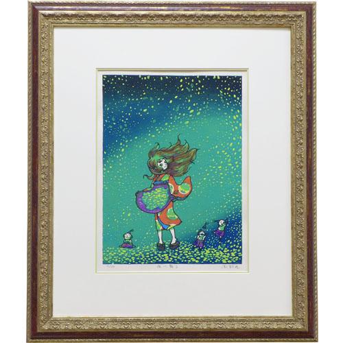 風鈴丸 額付き木版画 『夜に舞う』 2015年制作