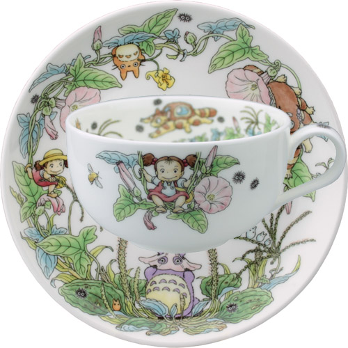 Noritake bone china My Neighbor Totoro special collection tea with milk porcelain bowl plate (cup & saucer) ひるがお (from July to August)