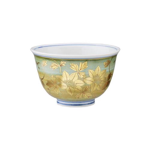 九谷錦山窯 金襴手花唐草文 汲出茶碗
