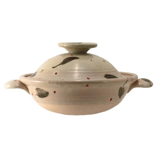陶房ななかまど 葉っぱにてんてん紋 9.5寸 土鍋