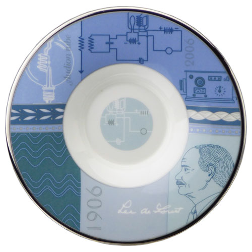 """Wedgwood founded 250th anniversary commemorative annual collection collection 3 (Cup & saucer), Teacup & saucer """"Audion tube' 2006"""