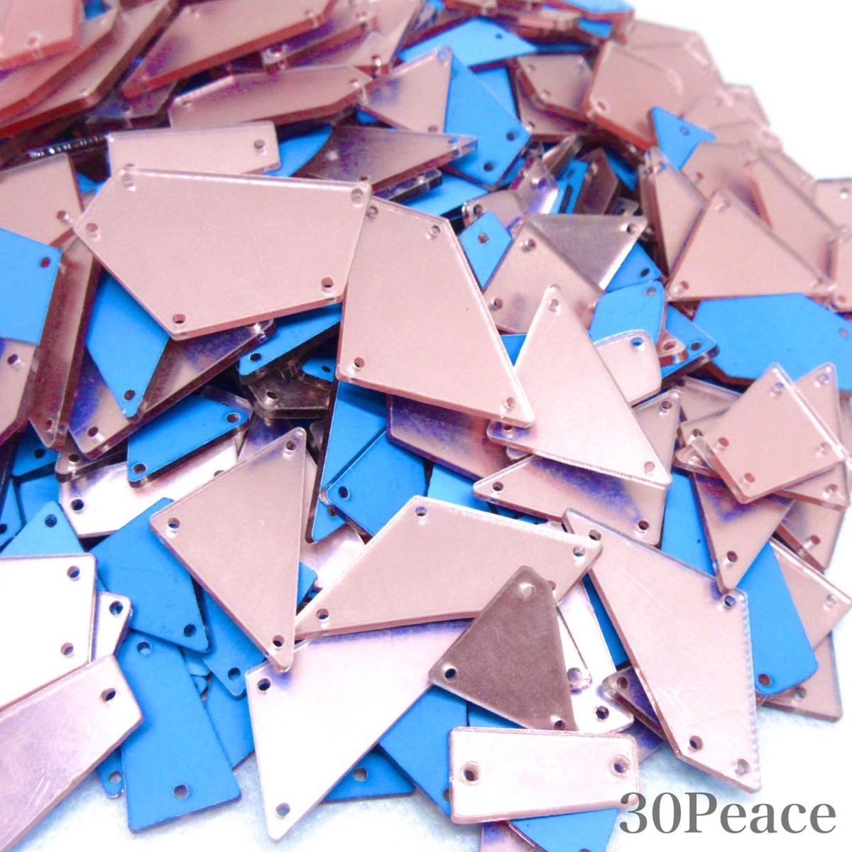 鏡仕上げのアクリルミラーパーツです アクリルミラーパーツ ミラーパーツ ミラーストーン 公式通販 品質検査済 衣装用ミラー 30peace ランダムミックス 衣装用パーツ ライトピンク