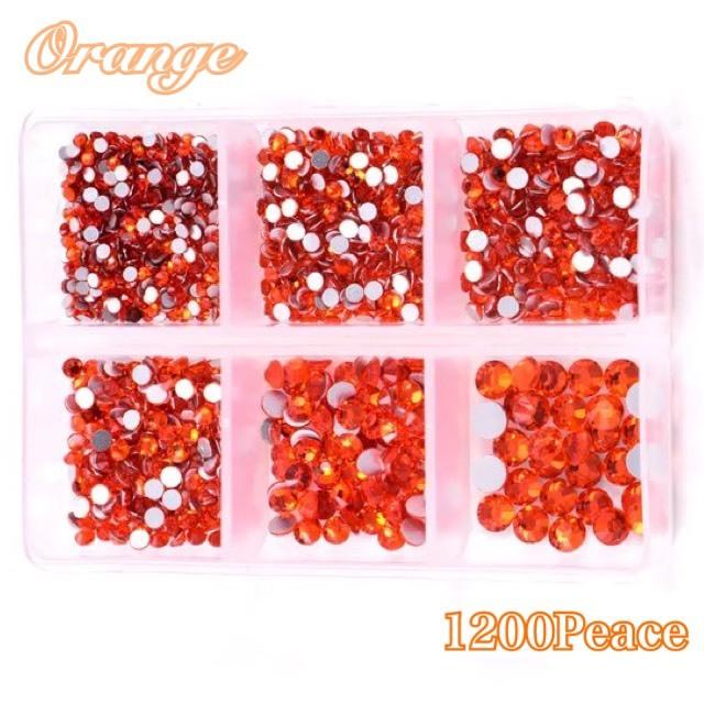 ☆高輝度ガラスストーン☆ ガラスビジュー ガラスストーン ミックスサイズ ケース付き 直輸入品激安 高輝度ストーン ss6~ss20 レオタード製作 超定番 カラー : ラインストーン オレンジ 合計1200粒