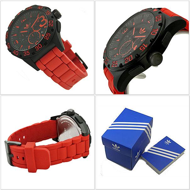 아디다스워치 adidas originals 아디다스오리지나르스크로노그라후 손목시계 NEWBURGH(뉴바그) 블랙 x레드(남성용/맨즈) adidas(아디다스) ADH2793