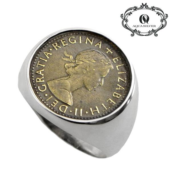 アクアシルバー AQUA SILVER リング 指輪 シルバー925製 メンズ AQUA SILVER ASR-140BRF-A1【幸せのコイン】