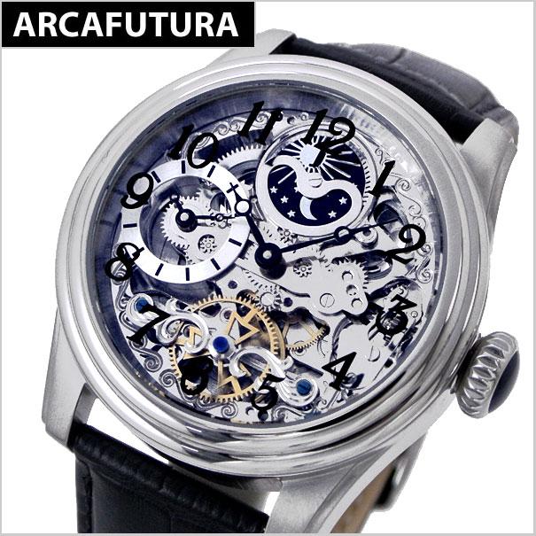 【アルカフトゥーラ 】ARCA FUTURA 腕時計 機械式(自動巻き) メンズ・牛革ベルト(ブラック)アルカフトゥーラ 965ABK