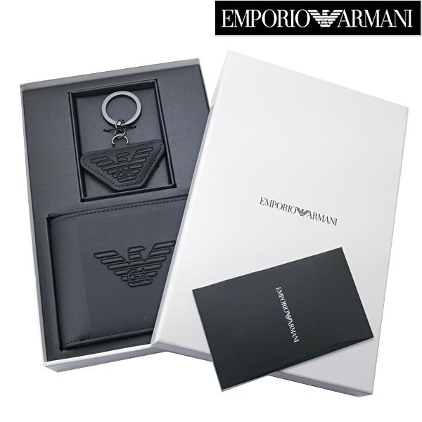 EMPORIO ARMANI (エンポリオ アルマーニ)二つ折財布 & キーリング セットモデル 小銭入れ付き ショートウォレット エンポリオ アルマーニ Y4R174 YFE6J 81072