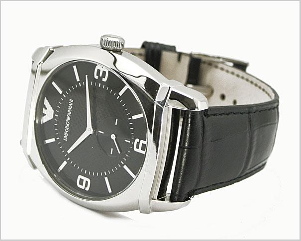 -Leather Belt Black Dial men's watch AR0342