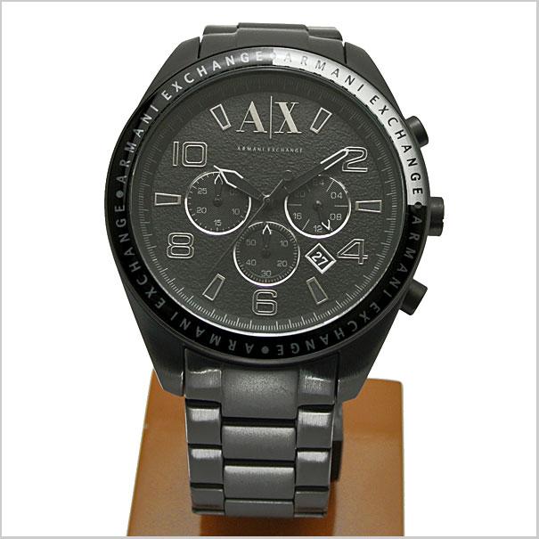 EXCHANGE chronograph men's watch black IP AX1255