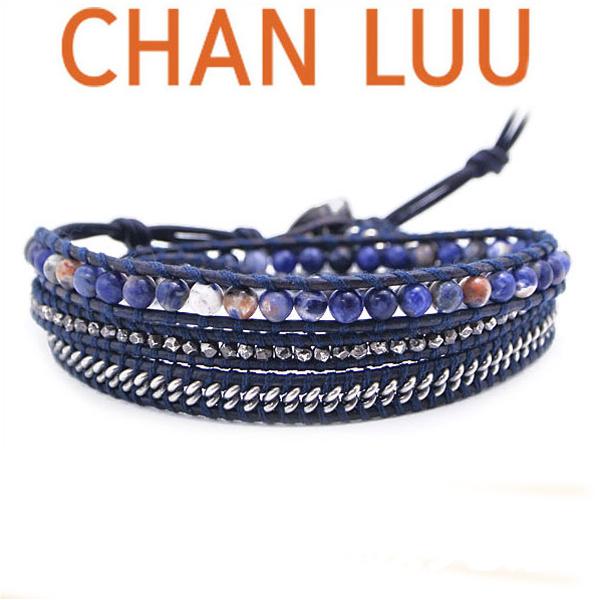 通信販売 チャンルー CHAN LUU 国内正規品 ブレスレット 3連ラップ ストーンチェーン ブルー 格安 価格でご提供いたします マットオレンジソダライトメンズ BSM-1701CLJ CHANLUU