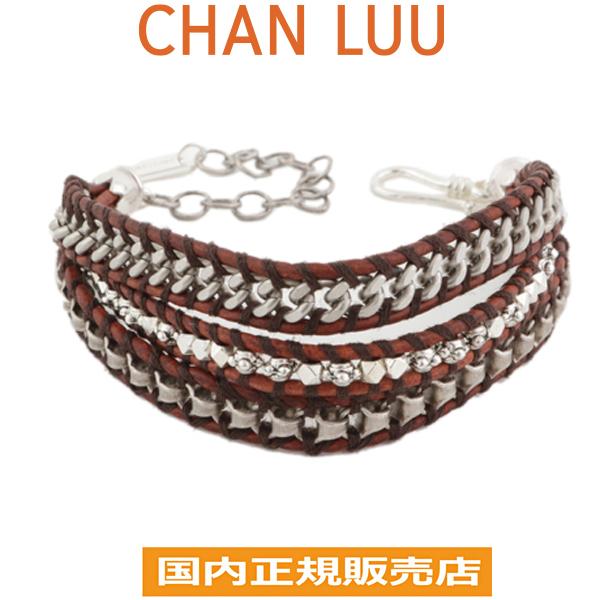 Chan roux CHAN LUU silver leather multi-caph bracelet men natural dark  brown NATURAL DARK BROWN Chan roux CHANLUU BSMZ-1688