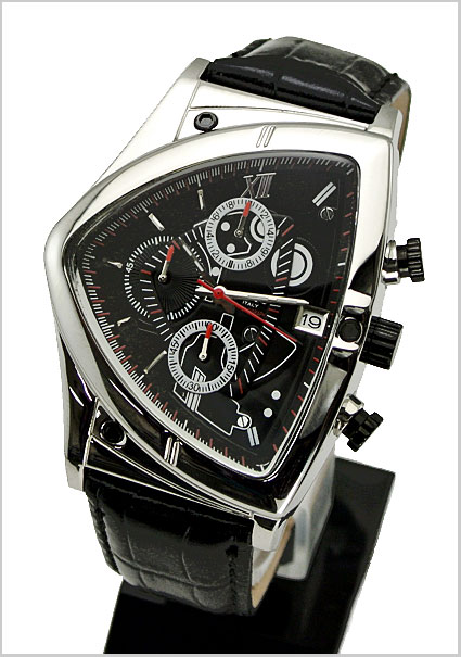 COGU ( COG ) triangle Chronograph Watch (for the black dial and leather belt men) 53% off C43-BK