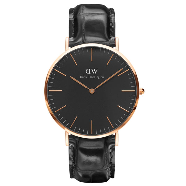 Men's 40mm leather belt Daniel Wellington DW0010029 for the Daniel Wellington Daniel Wellington watch Black Reading/ ブラックレディンローズ man