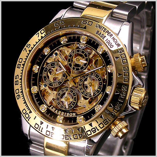 J.HARRISON(ジョンハリソン)多機能両面スケルトンタイプ機械式腕時計 限定 スワロフスキー12ポイント(ブラック) ジョンハリソン JH-003GBK【送料無料】