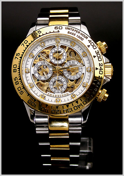 John J.Harrison( Harrison ) multifunctional double-sided skeleton type mechanical watch limited edition Swarovski 12 point (white) 90% off John Harrison JH-003 GW