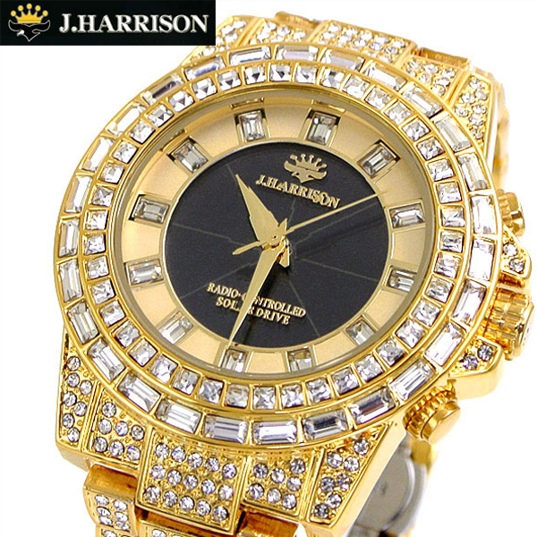 【ジョンハリソン】J.HARRISON シャイニングソーラー電波 腕時計 メンズ/男性用・ゴールド ジョンハリソン JH-025GB【送料無料】