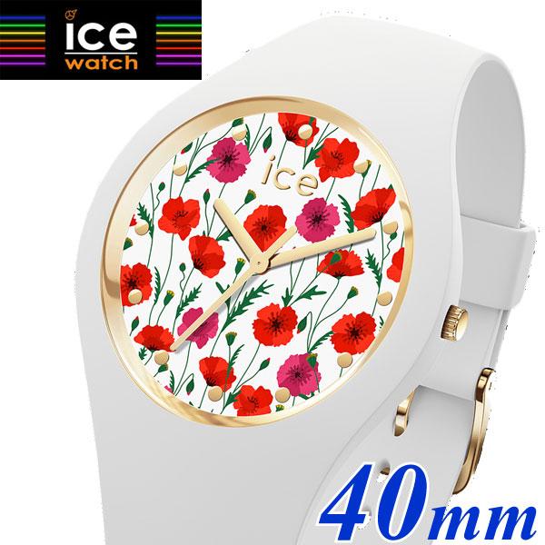 【クリーナープレゼント】【アイスウォッチ】ICE WATCH 腕時計 ICE Flower アイスフラワー ホワイトポピー 40mm ミディアム・ユニセックス(男女兼用)花柄・ボタ二力ル柄 ICE Flower アイスフラワー 016665